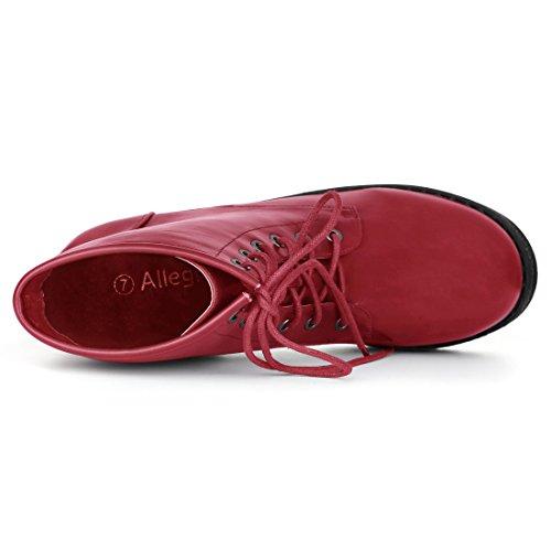 Allegra K Kvinna Chunky Klack Plattform Bekämpa Boot Red