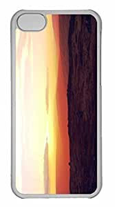 iPhone 5C Case, Personalized Custom Sun Setting Over The Mountains for iPhone 5C PC Clear Case