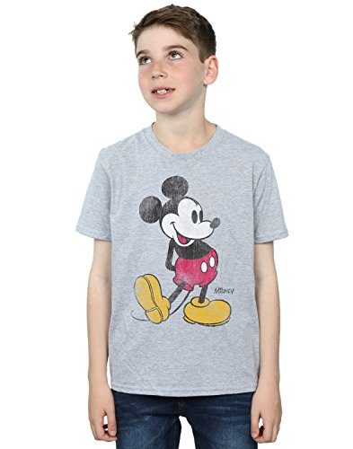 Disney Boys Mickey Mouse Classic Kick T-Shirt 7-8 Years Sport Grey