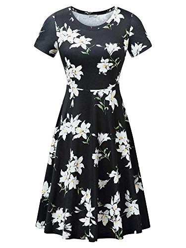 HUHOT Cotton Beach Sun Dress Black Floral Print Cute Summer Travel Dress Flower-22 XX-Large