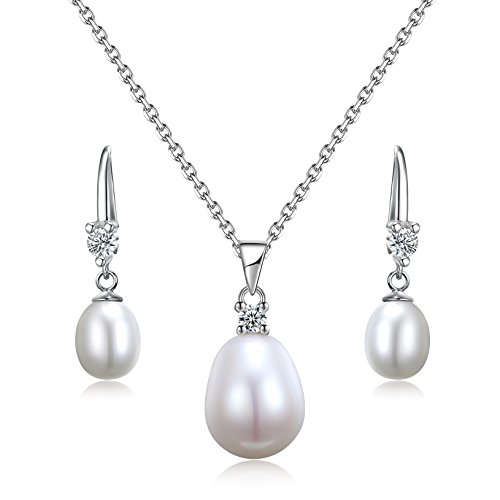 Sreema London Dazzling Duo 925 Sterling Silver Freshwater Pearl Pendant And Earrings Set With 18 Inch Rolo - Rolo Pearl