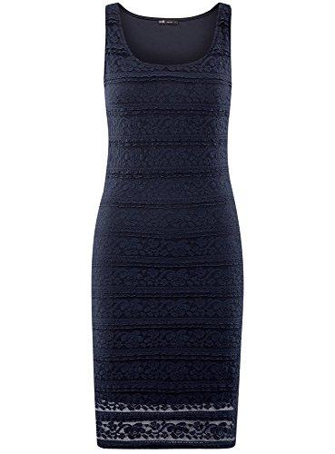 oodji Bleu Moulante Femme Robe 7900n Ultra en Dentelle 7nfq7xgCw