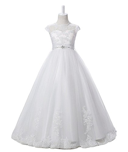 Magicdress White First Communion Baptism Dresses For Girls 7-16 Lace Princess Flower Girls Gown (Cheap Communion Dress)