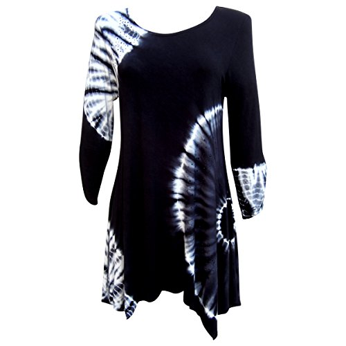 Nature Art Womens Tie Dye Long Tunic Shirt Dress Rayon Top Handkerchief Black L