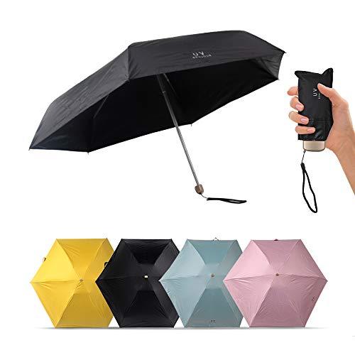 Heybee Flay Umbrella Black Automatic Compact Travel Sun & Rain Mini Umbrella Folding Rain Umbrella Auto Open/Close Lightweight for Women Men Kids