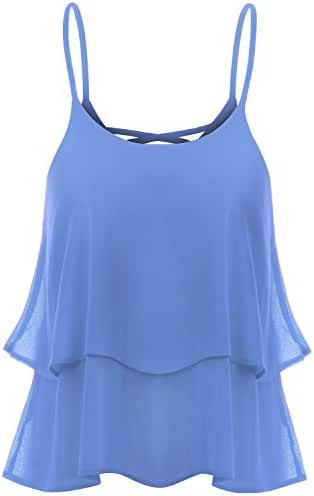TWINTH Cami Tank Top Blouse Plus Size Shirring Chiffon