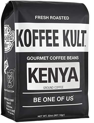 Koffee Kult Kenya Medium Roast Ground Coffee Premium 100% Single Origin Arabica 87+ AA Plus High Altitude Grown Speciality Grade (32oz)