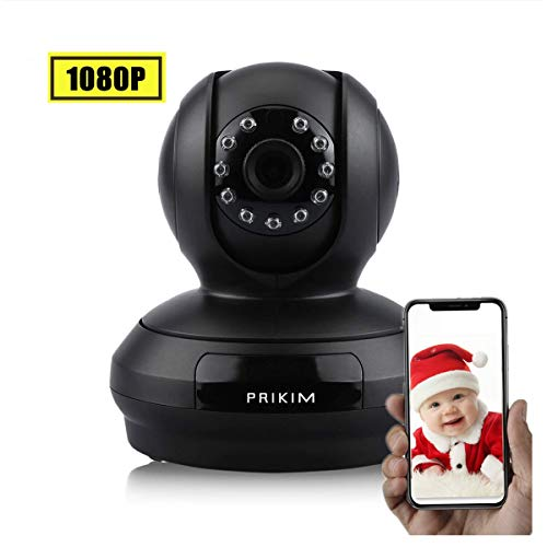 1080P Wi-Fi IP Camera PRIKIM FHD CMOS Dual-Way Audio APP Support Indoor Security Cam Multiple Alarm Features Motion Detection 128GB SD Card Support IR Cut Night Vision PTZ Mic and Speaker