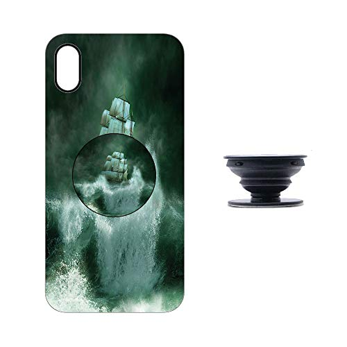 Adventures Fantasy In (iphoneX/XS Case with Collapsible Grip&Stand/Pirate Ship/Old Ship in Thunderstorm Digital Artwork Fantasy Adventure/Jade Green Dark Green White/Compatible with iphoneX/XS(TPU Case/Black))