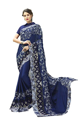 Dessa Collections Indian Sarees for Women Wedding Designer Party Wear Traditional Blue Sari. by Dessa Collections