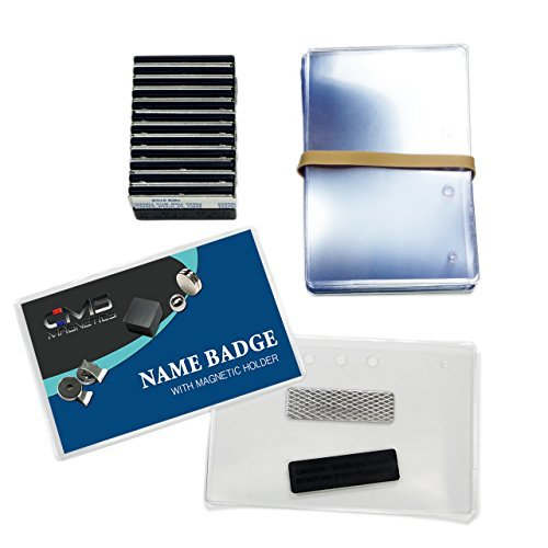 24 Sets of DIY Magnetic Name Badges w/CMS Magnetics 3Mag-1 Badge Magnets - Top Loading Premium Plastic Badge Holders (2-1/2