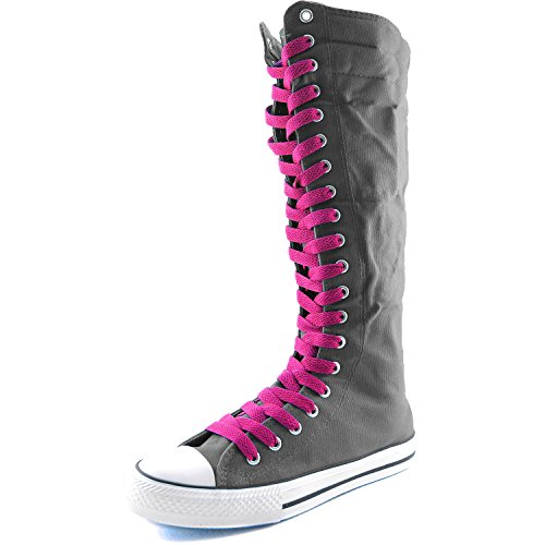 Damestas Womens Canvas Mid Kalf Lange Laarzen Casual Sneaker Punk Flat, Hot Pink Grey Boots, Hot Pink Lace
