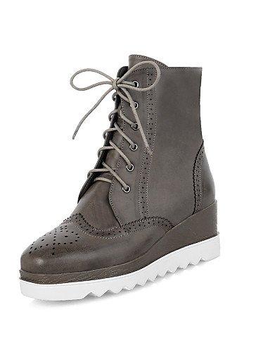 us7 Cn38 Redonda Cn39 Vestido Black 5 De Uk6 Punta Eu39 5 Gris Uk5 Gray Plataforma Zapatos Negro Mujer Casual Marrón Botas Semicuero Eu38 us8 Xzz Anfibias UFqR40n8