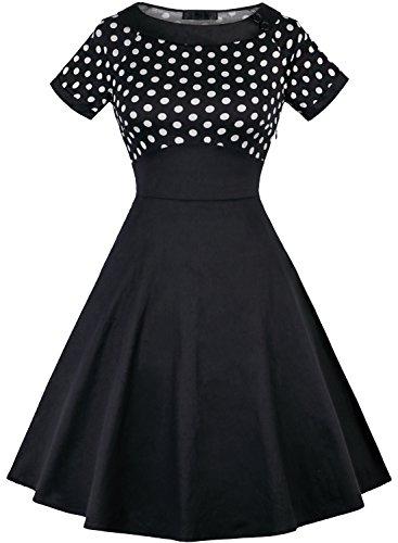 OLADY Women's Vintage 1950s Polka Dots Patchwok A-line Short Sleeve Cocktail Swing Dress