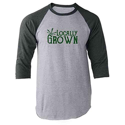 Locally Grown Marijuana Leaf Gray XL Raglan Baseball Tee Shirt