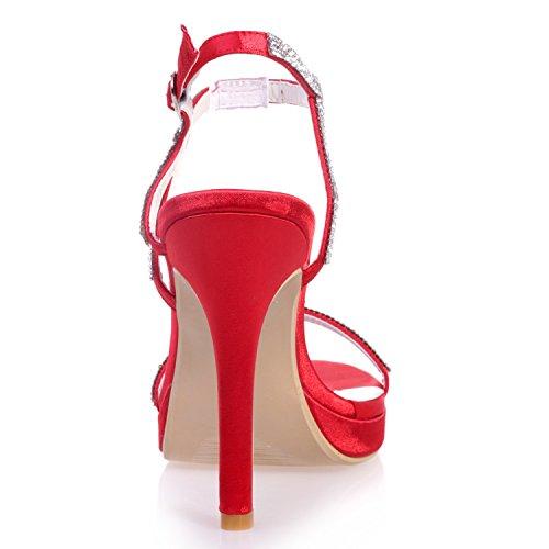 da Festa E Tacco Fibbie Scarpe per per da Sposa con Tacco Sera da Strass viola Tacco Donna Elobaby 11cm 5FAq1