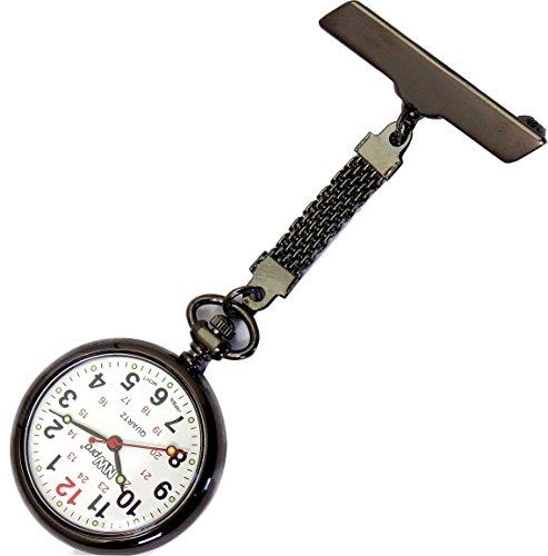 NW-Pro Lapel Nurse Watch - Large White Dial - Water Resistant - Braided - Gunmetal
