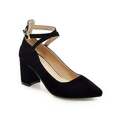 BalaMasa Womens Casual Business Solid Black Urethane Pumps Shoes APL10613-4 B(M) US
