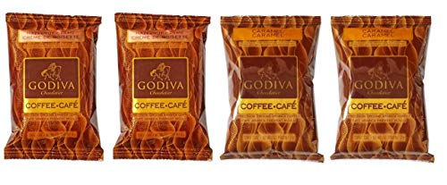Godiva Chocolatier Flavored Coffee 2 Flavor Variety Sampler Bundle, (2) each: Caramel and Hazelnut Creme (2 Ounces)