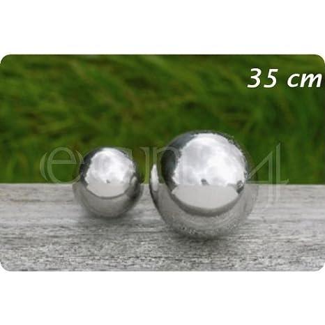 Boule de décoration inox pour jardin ou étang - 35 cm -