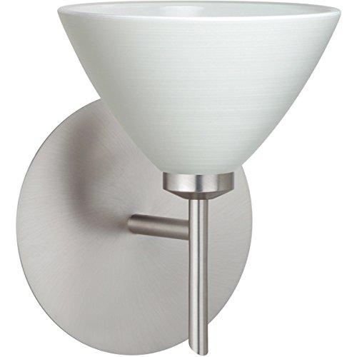 Besa Lighting 1SW-1743KR-LED-SN Besa, Domi Mini Sconce, Chalk, Satin Nickel Finish, 1x5W LED ()