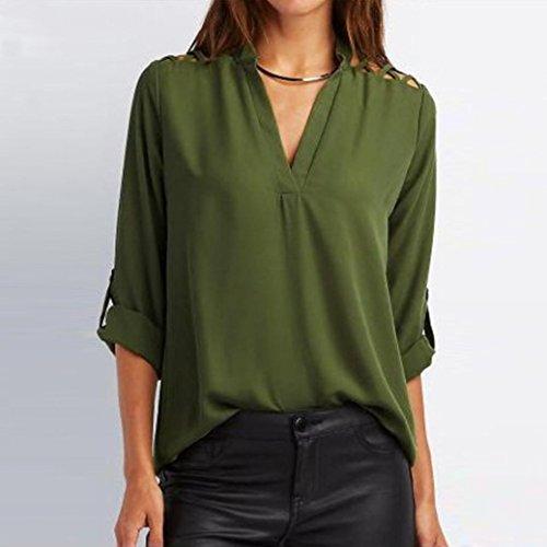 Tefamore Camiseta Blusa Tapas Mujeres de La Tab-Manga Sólida de la Gasa de las Ahueca Hacia Fuera Verde Ejército