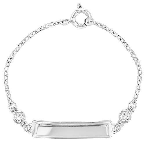 925 Sterling Silver Clear CZ Identification Tag Baby ID Bracelet Newborn 4.5