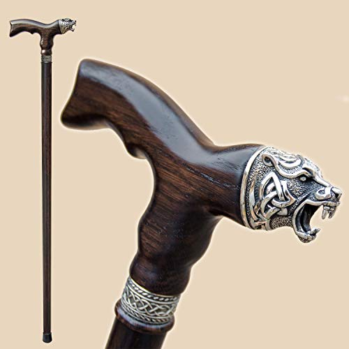 Metal Soft Cane - Fancy Walking Canes for Men - Celtic Bear - Stylish Men's Wooden Walking Sticks and Canes - Fashionable Wood Cane