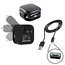 fast 2.1 Amp 11W dual wall outlet & car charger double USB power ports with 22 awg charge only cable pocket sized for travel designed for Nikon Coolpix B700 P900