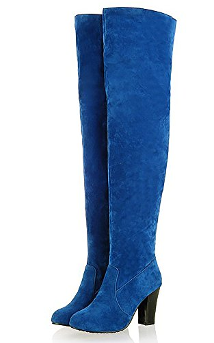 Slip Bootie Heel Bloque 976 Alta Odema Rodilla On Mujer Azul 1OWaX