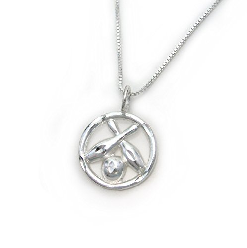 Sterling Silver Bowling Ball and Two Crossing Pins Circle Charm Necklace ()