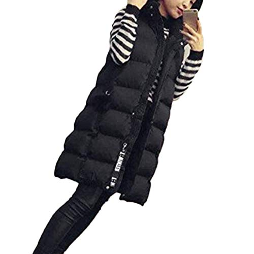 Gilet Autumn Coat Clothing Black and Aiweijia Long Outwear Thicken Hooded Women's Section Winter Jacket Vest UdPcA0wq
