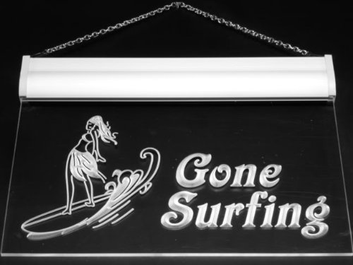 Sign Surf Surfing Gone (Multi Color s090-c Gone surfing Surf Lady Wave Neon LED Sign with Remote Control, 20 Colors, 19 Dynamic Modes, Speed & Brightness Adjustable, Demo Mode, Auto Save Function)