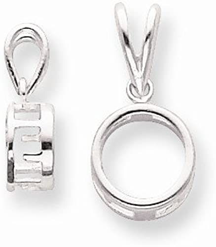 FB Jewels Sterling Silver Oval 5 x 3mm Back Set Fixed Bail Pendant Setting
