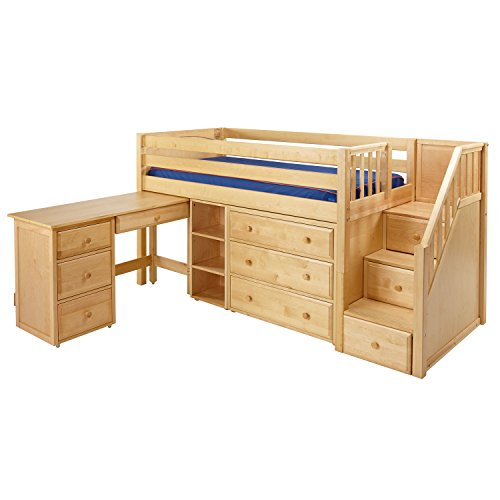 Maxtrix Solid Hardwood Twin-Size Low Loft Bed with Storage Staircase Entry, Dresser, Bookshelf, and Student Desk, Natural ()