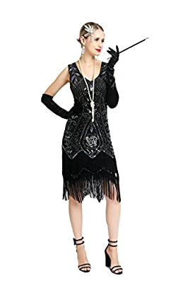 Women 1920s Flapper Dress Fringe Beads Tassels Great Gatsby Sequin Cocktail Costume with Accessories
