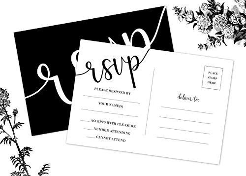50 RSVP Cards, No Envelopes Required, Black and White Printing, Wedding, Rehearsal, Birthdays, Baby, Bridal Shower Invitation
