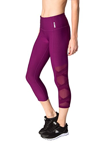 RBX Active Women's Mesh Capri with Straps Raisin Spice XS (Mustache Pantyhose)
