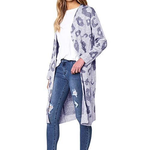 - Knitted Sweater Leopard Print Cardigan Women Fashion Long Sleeve T-Shirt Coat