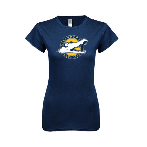 Allegheny Next Level Ladies SoftStyle Junior Fitted Navy Tee 'Lacrosse'