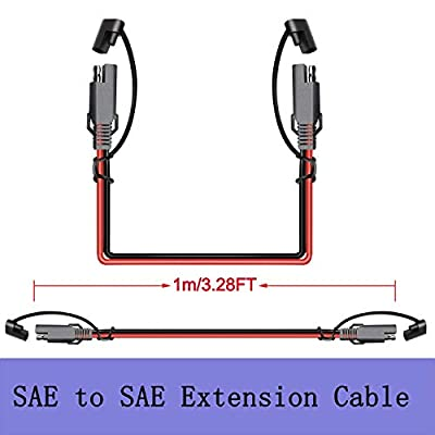iMESTOU SAE to SAE Extension Cable 3 Feet 18 awg 2-Pin Quick Release Plug Wire Harness Motorcycle SAE Connectors for 12V-24V Battery: Automotive