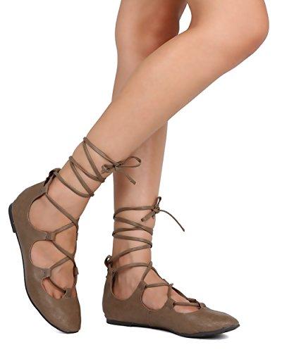 Breckelles Fi18 Kvinnor Läder Snörning Fotled Wrap Balett Platt Taupe