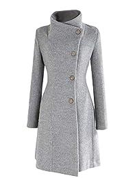 Andopa Womens Classic Fall Winter Maxi Single Breasted Fitted Pea Coat