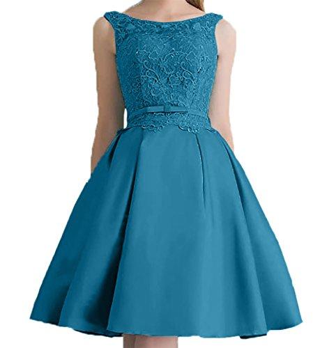 Promkleider 2018 Blau Mini Hundkragen Neu Partykleider Cocktailkleider Abendkleider Dunkel Attraktive Spitze Charmant Damen 6W7TqnH