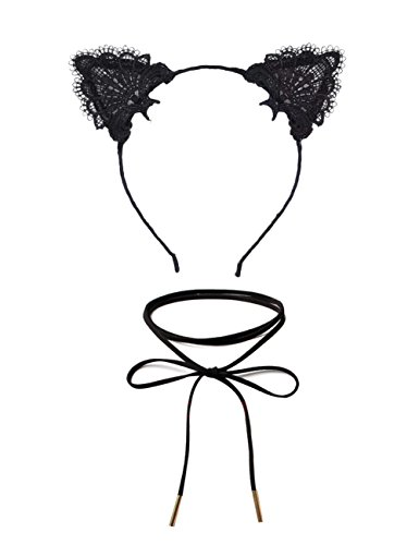 DreamLily Lace Cat Ears Hair Band Fancy Dress headpiece with Chorker Necklaces Set MD-02 (Style 1) -