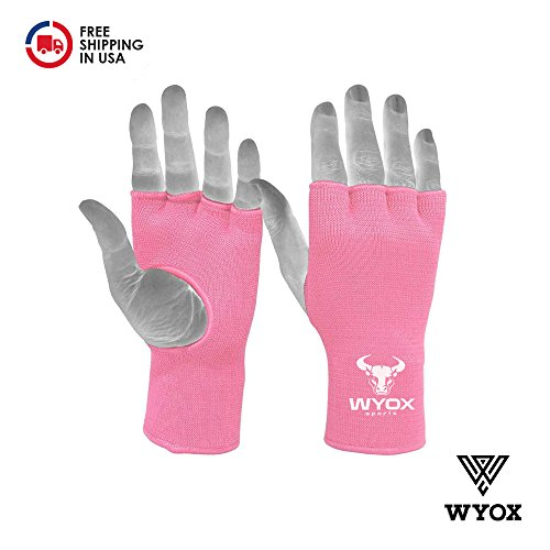 WyoxSports Boxing Inner Gloves Mitts Hand Wraps MMA Fist Protector Bandages Fingerless (Adult, Pink), Unknown