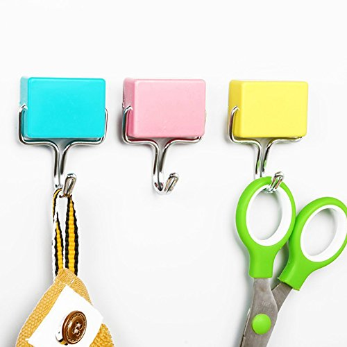Loghot Super Strong Magnetic Seamless Hooks Hangers for Kitchen Refrigerator,Microwave (Random Color-Yellow,Green,Pink) (8 Sets) - Sword Push Pins