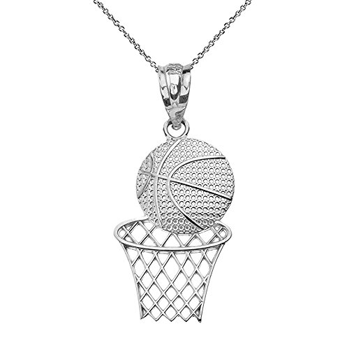 Textured 925 Sterling Silver Basketball Hoop Sports Pendant Necklace, 20