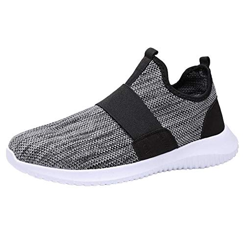 Nomeni Fashion Men's Breathable Mesh Upper Running Shoes Wild Sports Shoes Outdoor Non-Slip Light Leisure Sneakers Grey
