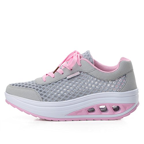 Baqijian Women Running Shoes Swing Platform Trainers Zapatos Mujer Low Top Jogging Running Shoes Sneakers Pink 7